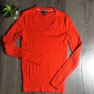 Tommy Hilfiger V-Neck Cable Knit Preppy Sweater